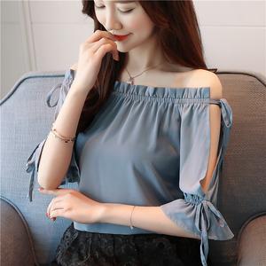 实拍9246#雪纺衫女夏季新款韩版宽松喇叭短袖一字领露肩仙气...