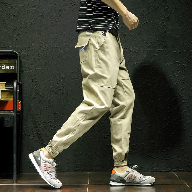12019春季大码男休闲裤新款纯棉男裤口袋装饰帅气束脚裤男哈伦裤