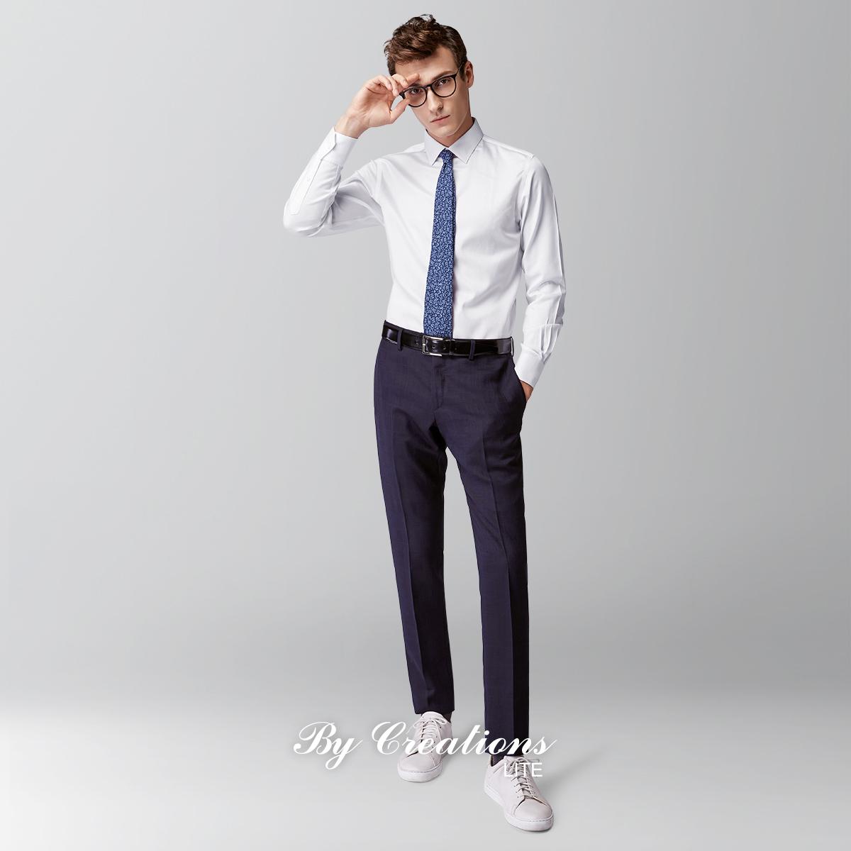 柏品 Lite 春秋男士长袖正装商务衬衫白色全棉修身免烫长绒棉衬衣