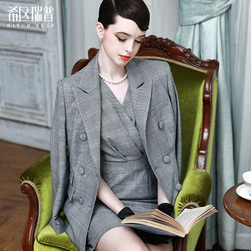 希区瑞普 高端复古格子时尚双排扣长西装职业气质正装女欧美C0121