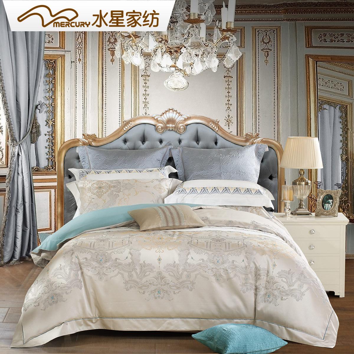水星家纺提花套件双人被套床单四件套欧美风简约套件欧域华庭床品