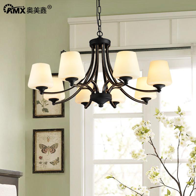 美式乡村客厅吊灯欧式铁艺卧室简约玻璃8头复古餐厅房间田园灯具