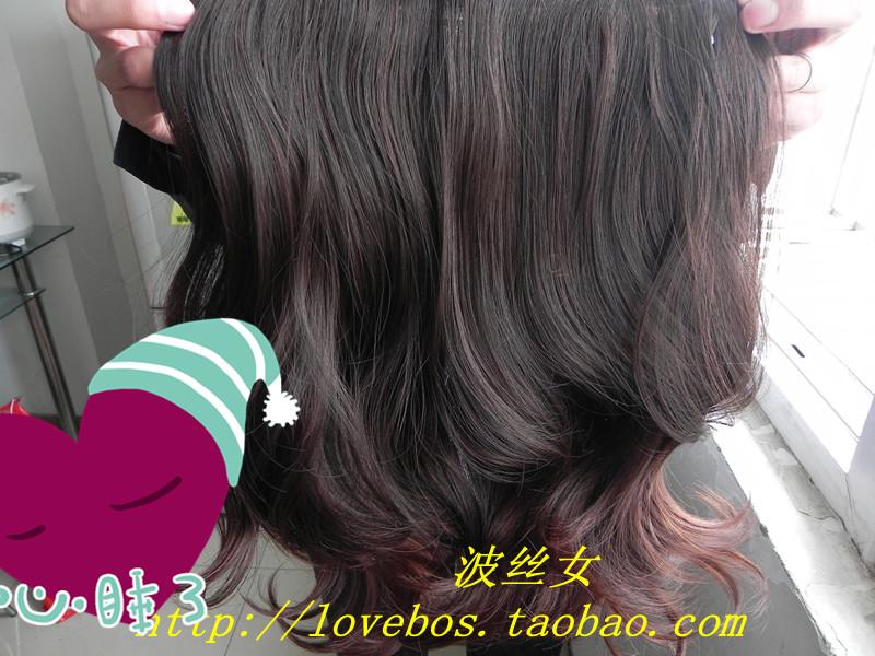 波丝女boss 实拍微卷 大波浪 一片式 中长发卷发片 接发片 假发片图片