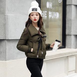 2017冬季新款小棉衣女短款韩版时尚翻领宽松薄款学生棉服外套女潮