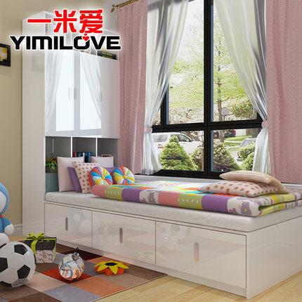 现代简约板式床1.2米1.5米双人床榻榻米床高箱储物床单人床收纳床