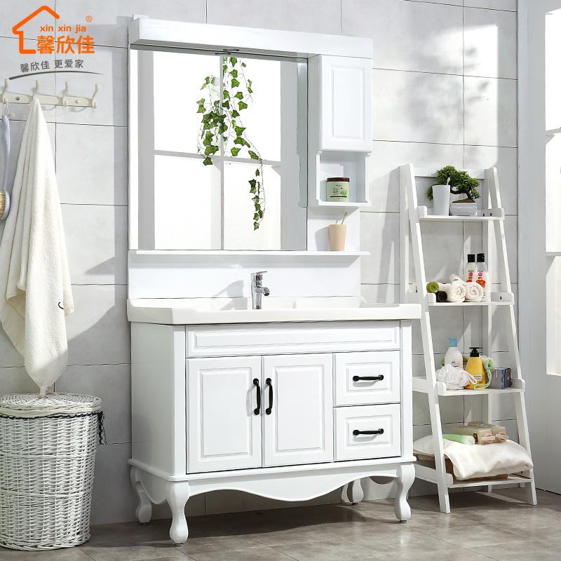 橡木落地浴室柜组合实木欧式卫浴柜卫生间洗脸台洗手池洗漱台