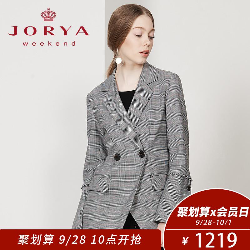 卓雅周末2018秋季新款千鸟格女士西装外套EJW8CC01
