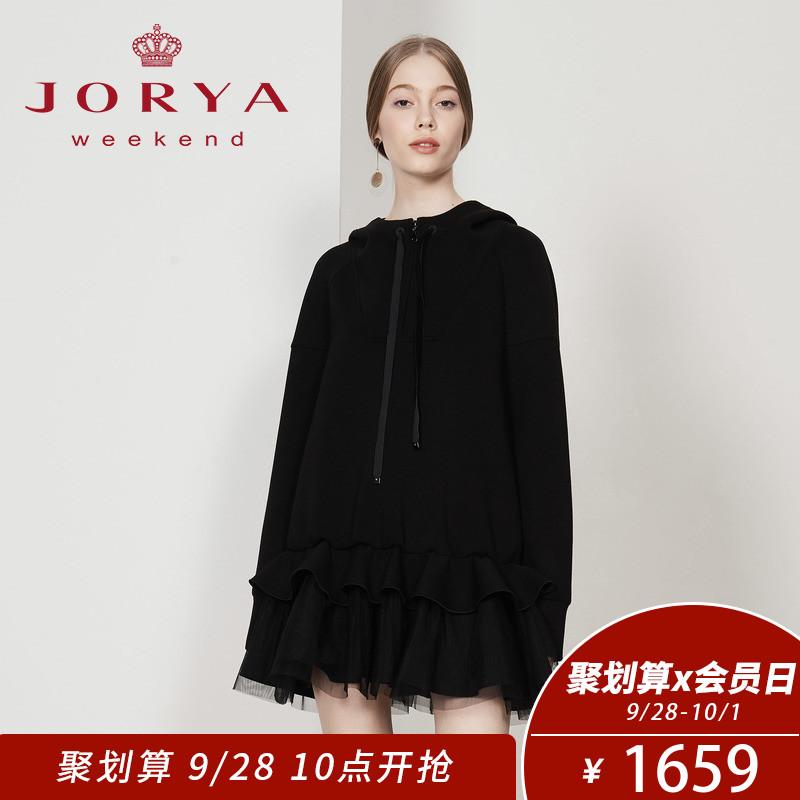 卓雅周末2018秋冬新款百褶网纱黑色长袖连衣裙EJW8CQ04