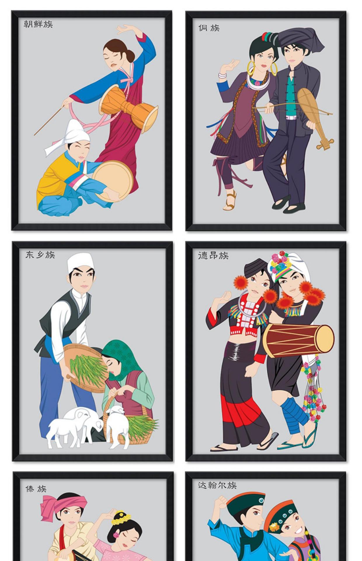 56个少数民族文化装饰画挂画幼儿园学校卡通人物服饰墙画壁画餐厅图片