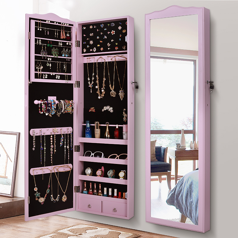 European Style Dressing Mirror Jewelry Storage Cabinet Wall Hanging Mirror  Home Fitting Mirror Dormitory Floor Mirror Cloakroom Full Length Mirror