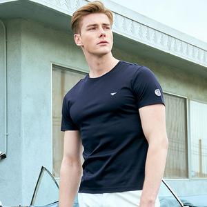 七匹狼短袖T恤2019夏季新款中青年男士圆领纯色时尚商务纯棉男装