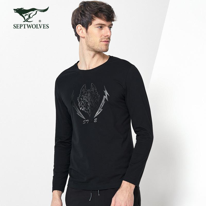 七匹狼T恤2018新品青年男士时尚休闲修身棉氨混纺长袖圆领T恤