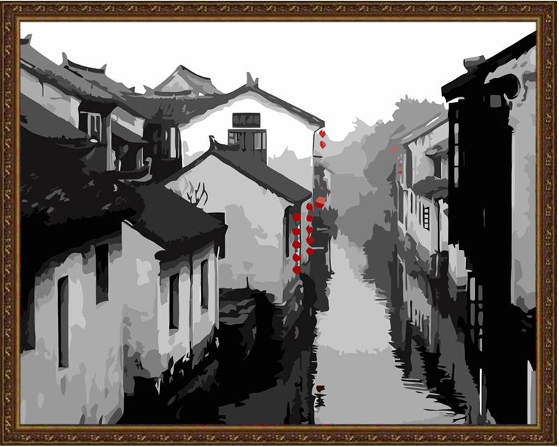 佳彩天颜diy抽象手绘装饰画水墨古镇