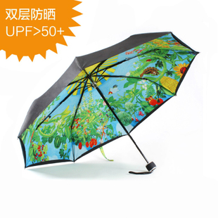 Japan Hayao Miyazaki long handled umbrella umbrella Totoro dual-purpose automatic three folding umbrella sun umbrella animation