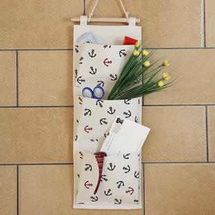 柳风棉麻布艺收纳袋收纳挂袋墙上门后多层挂袋壁挂袋储物袋