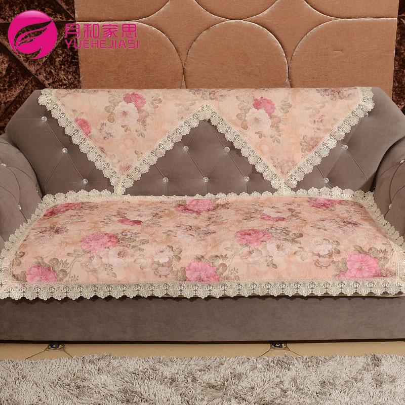 月和家思田园欧式布艺沙发垫花团锦簇沙发坐垫