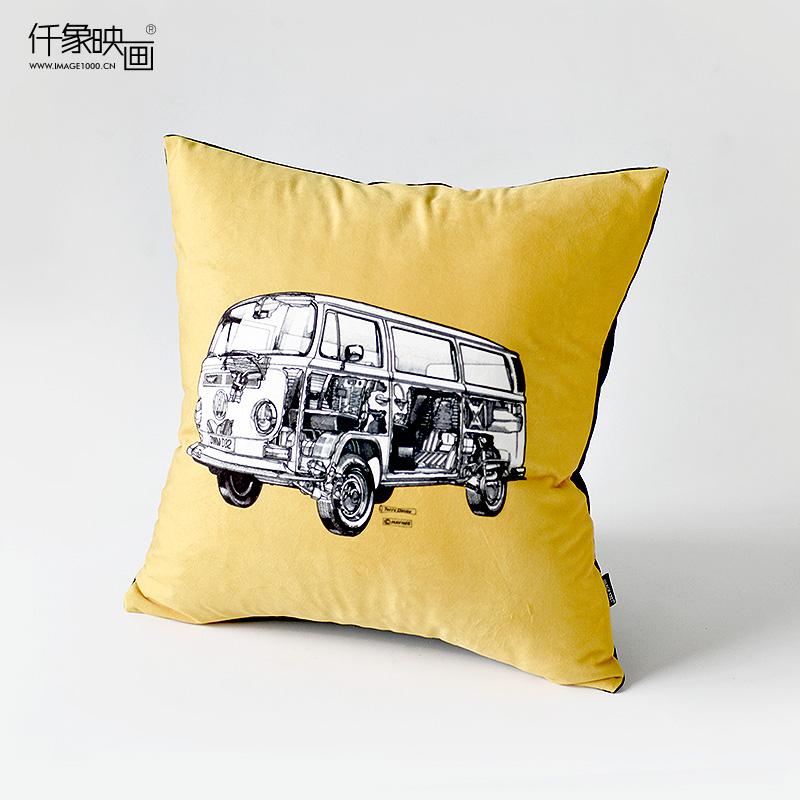仟象映画大众小客车艺术抱枕PL0221B