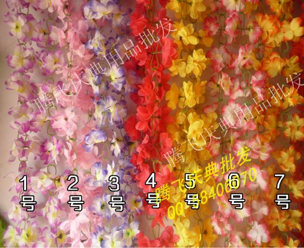 Искусственные цветы 2 м поддельные цветок винограда ротанга ткань Шелковый цветок моделирования цветок Лоза оптом Кондиционер трубы декоративные свадебное новое соглашение