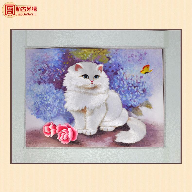 娇古挂画白猫刺绣图手工艺品020650