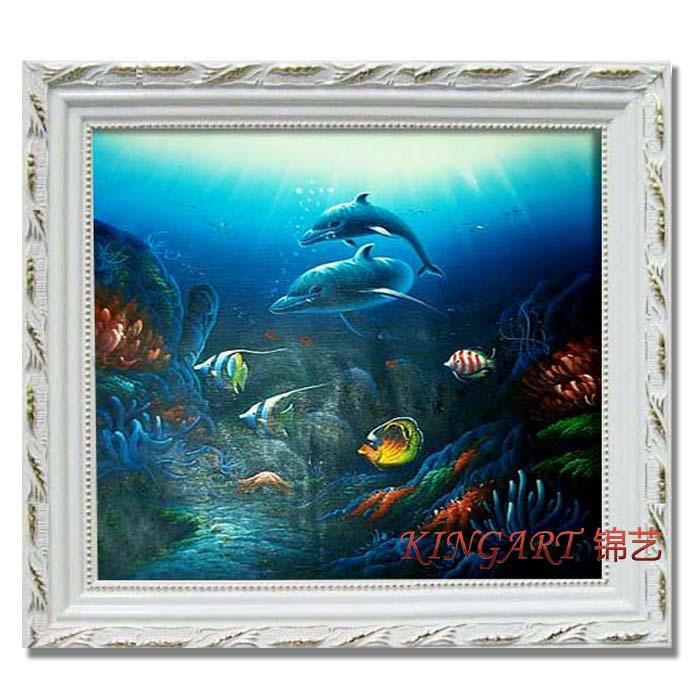 现代装饰画 儿童卧室挂画家庭装饰画海洋馆风景油画框画手绘f094