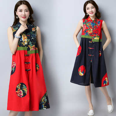 2018 Summer new national wind women's clothing Chinese printing improved Tang dress long retro vest ...