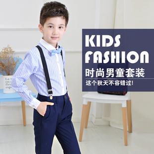 儿童礼服男孩套装小主持人花童背带裤男童钢琴大合唱演出表演服装