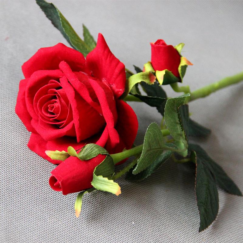 好韵桌摆仿真玫瑰花一花两蕾玫瑰
