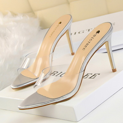 689-13 barefoot perspective han edition fashion simple transparent one word with cool slippers with pointed high heel wo