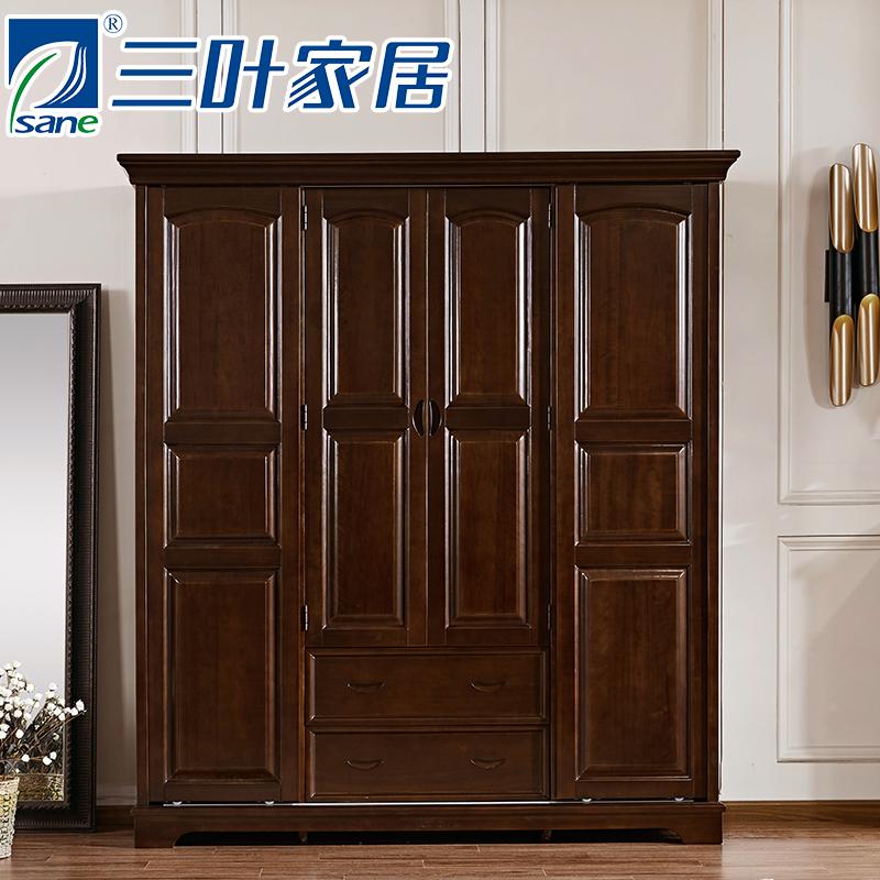 三叶美式全实木衣柜四门移门YG6835