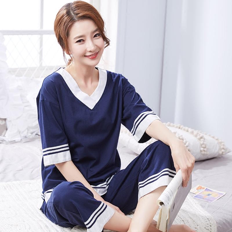 睡衣女夏季纯棉短袖V领长裤套装针织全棉可外穿加大码家居服套装