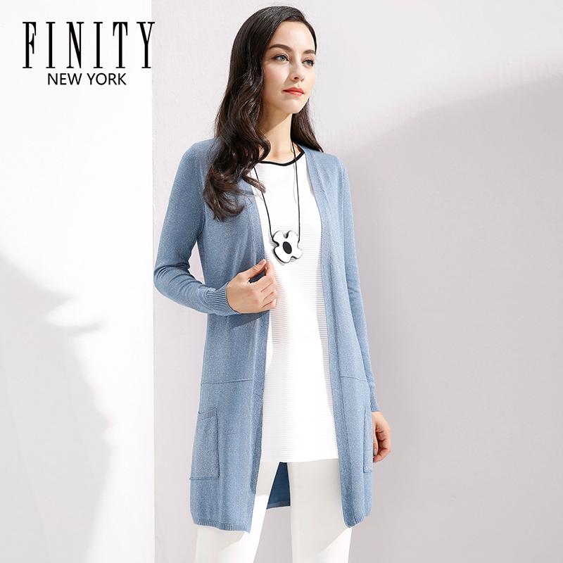 菲妮迪春秋女装时尚新款长袖外套百搭中长款针织衫开衫女