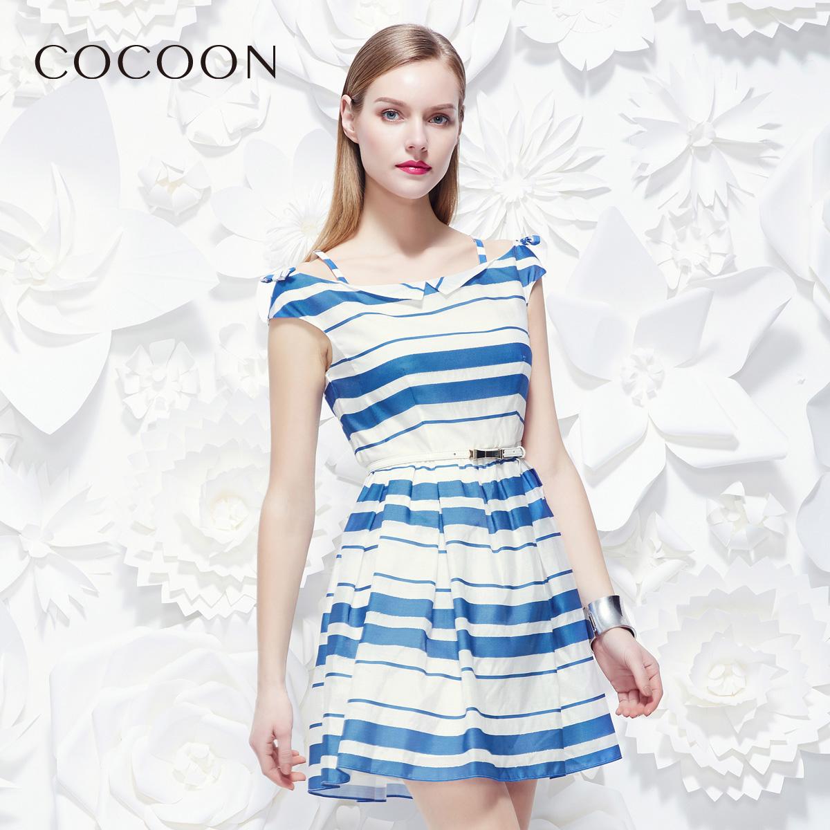 可可尼夏新品条纹一字肩收腰无袖吊带气质连衣裙裙子