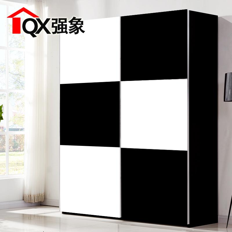 强象北京经典黑白玻璃门整体衣柜b004
