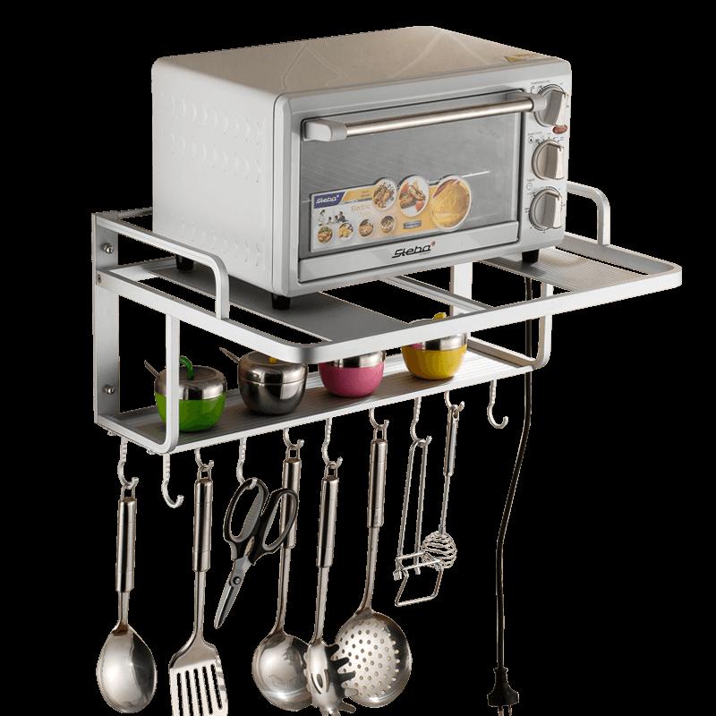 太空铝微波炉置物架壁挂式2层 厨房置物架微波炉烤箱收纳挂架挂件