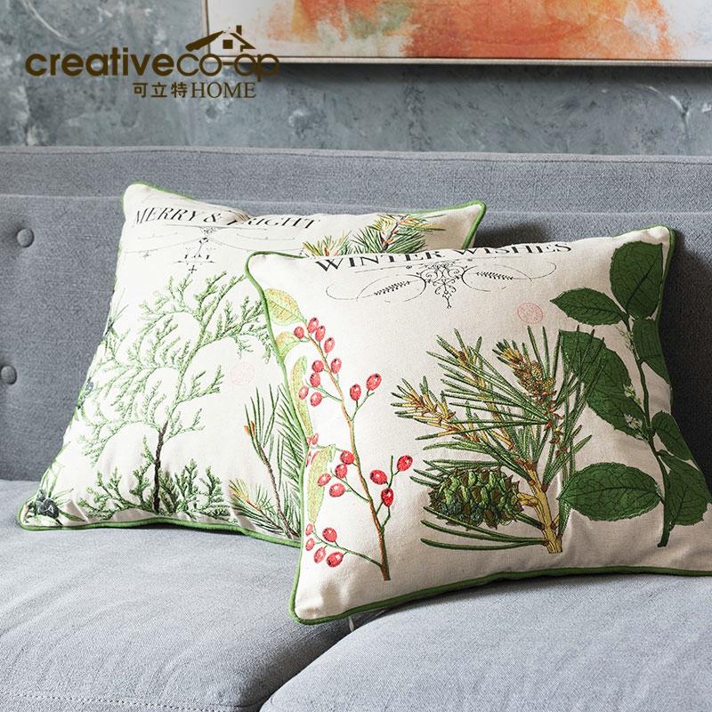 可立特棉麻植物图案刺绣抱枕XC7187A