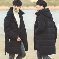 2016新款冬季加厚修身中长款青年韩版宽松羽绒服男装外套潮流学生