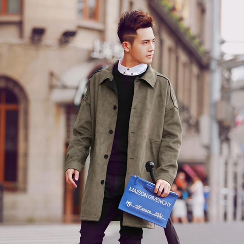 春季麂皮绒中长款风衣男欧美潮牌日系韩版修身大衣太空棉外套潮