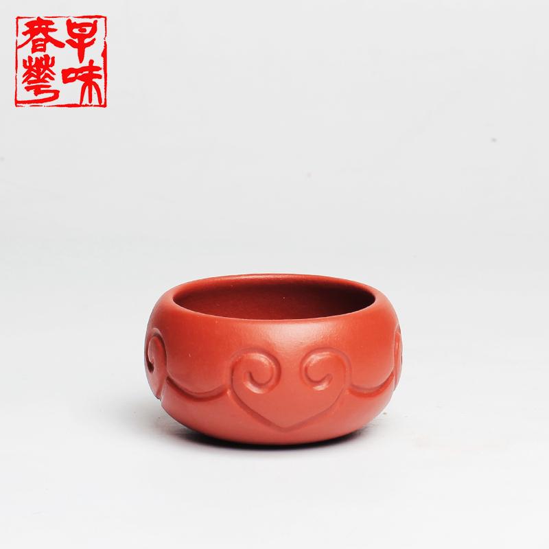 早味春华品茗小口杯朱泥如意紫砂杯 200102