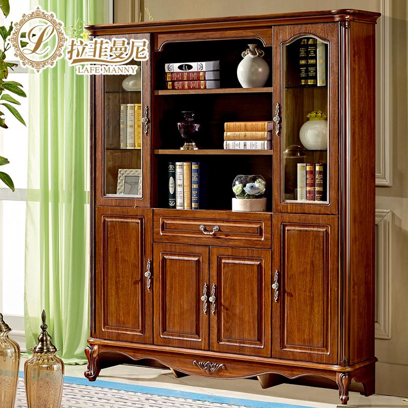 拉菲曼尼实木法式四门书柜ng003