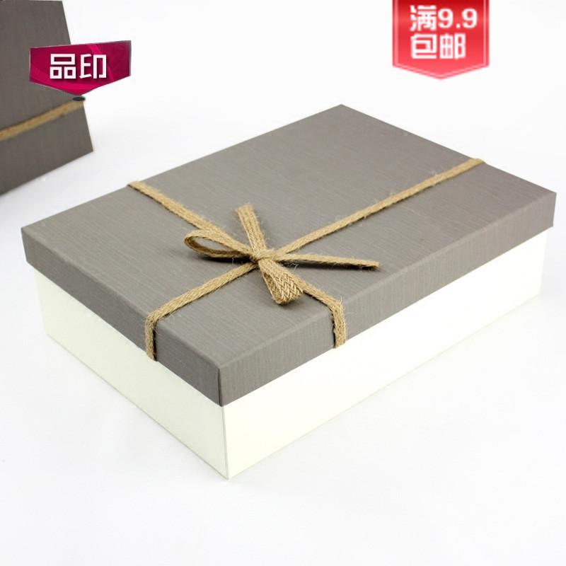 创品印长方形礼品盒23701-灰盖麻绳