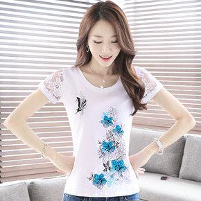 蕾丝袖夏季显瘦短袖T恤