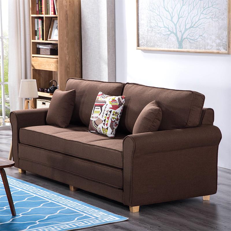 美式沙发床可折叠 客厅双人小户型两用1.8米书房 布艺实木沙发床