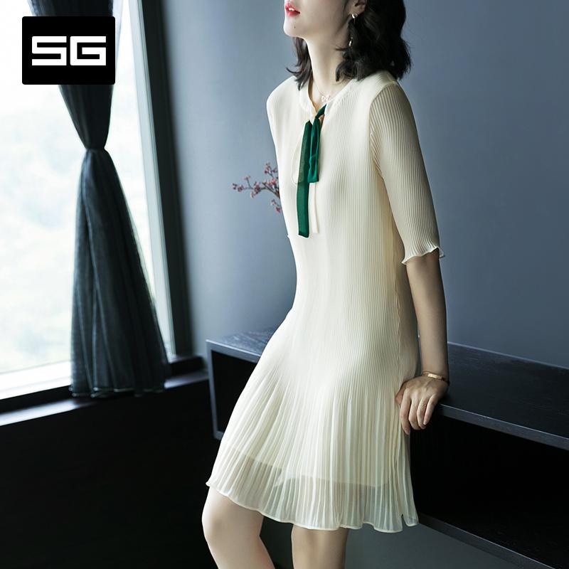 SG2018夏装新款气质V领修身中款百褶裙蝴蝶结五分袖雪纺连衣裙女