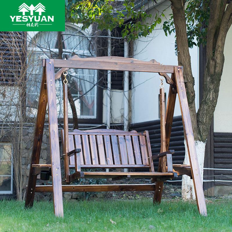 秋千户外 摇篮椅吊椅成人室内外单双人阳台庭院吊床防腐木桌椅
