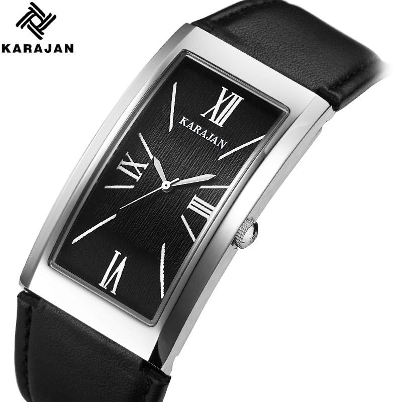 卡拉扬正品新款手表男士潮流时尚方形防水薄款石英表男表真皮男