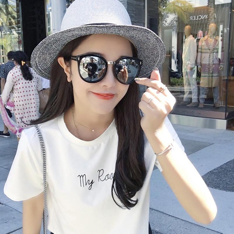 新款时尚街拍复古太阳镜ins眼镜网红圆脸个性女士墨镜潮2018韩国