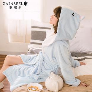 歌瑞尔冬天法兰绒甜美卡通连帽家居服睡衣可爱少女睡袍