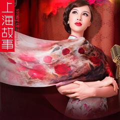 上海故事桑蚕丝丝巾真丝绸缎面围巾长款女夏季春秋空调披肩 礼品