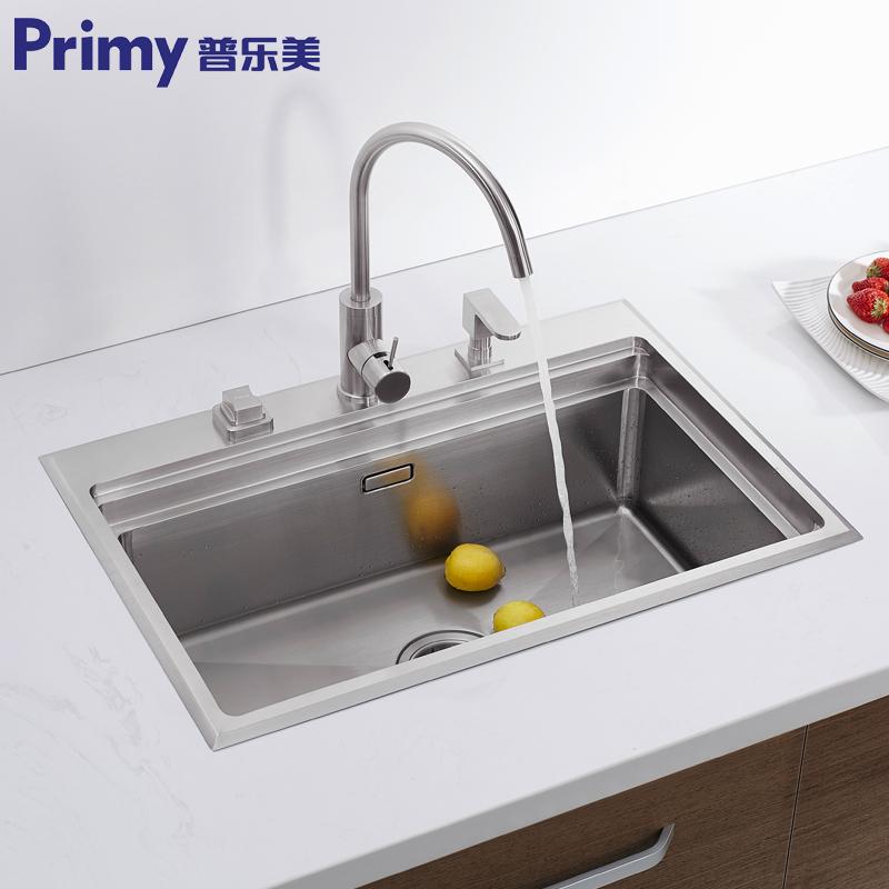 普乐美加厚304不锈钢手工水槽单槽kb191