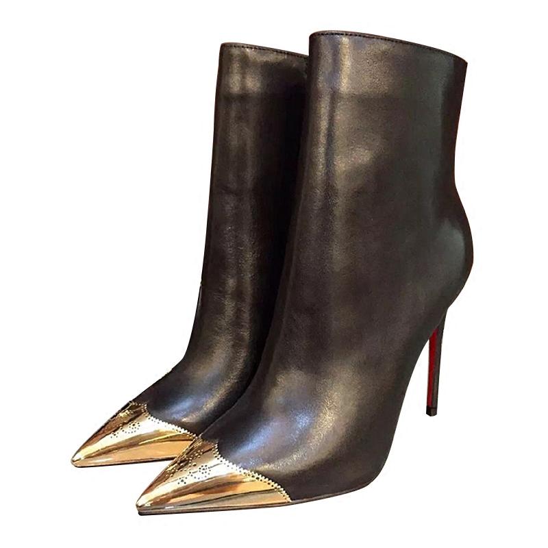 欧洲站尖头高跟鞋真皮细跟短靴金属扣女靴子秋冬加绒保暖裸靴大码